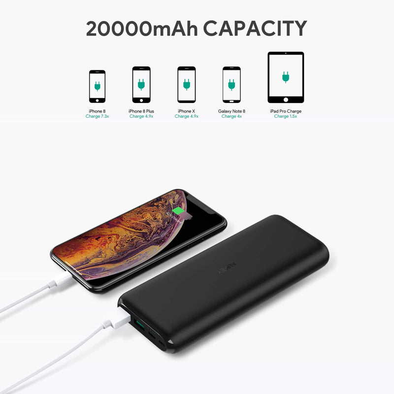 PB-XN20 20000mAh Type C Ultra Slim Power Bank with USB C Fast Charging 5V 3A