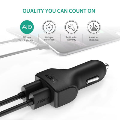 AUKEY CC-S3 24W 4.8A Compact Dual Port Car Charger with AiPower - Aukey Malaysia Official Store