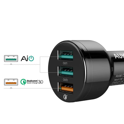 AUKEY CC-T11 Qualcomm Quick Charge 3.0 3 USB Ports 42W 7.8A Car Charger - Aukey Malaysia Official Store