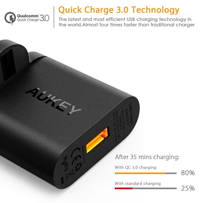 AUKEY PA-T9 19.5W Quick Charge 3.0 Travel Charger + CB-A2 Micro USB to USB C Converter - Aukey Malaysia Official Store