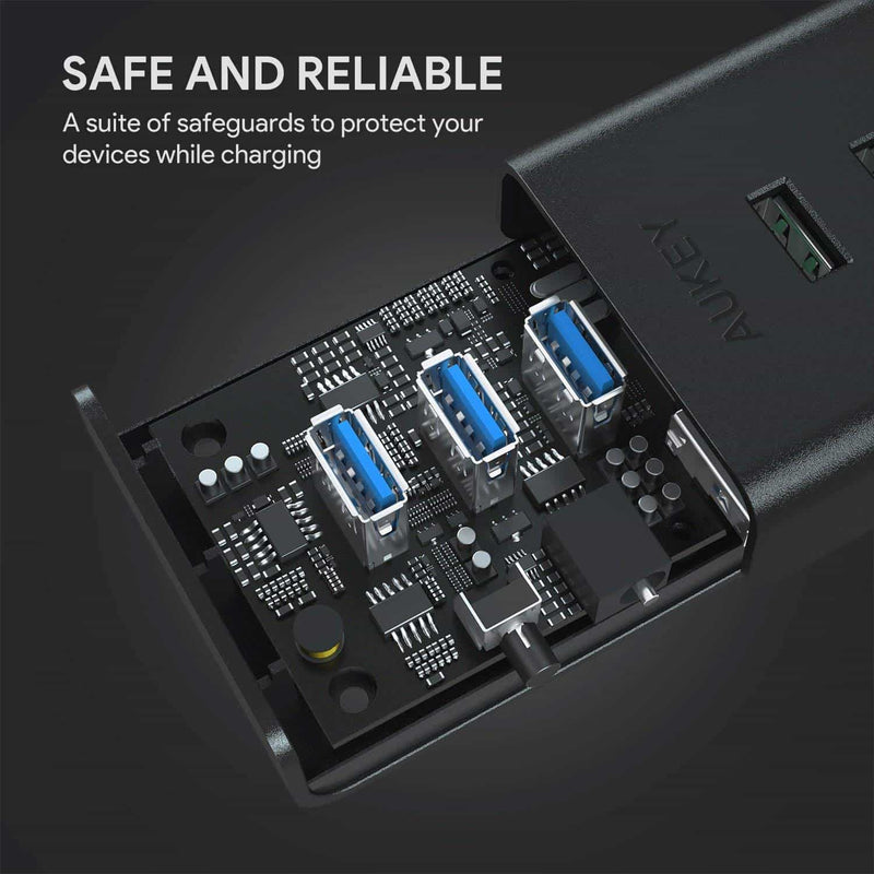 CB-H19 Powered USB Hub with 3 Charging Ports and 4 USB 3.0 Data Ports