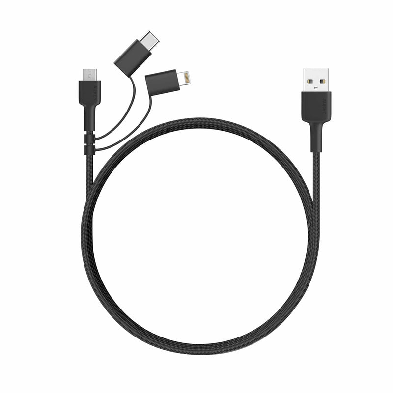 CB-BAL5 3 In 1 MFI Lightning Cable With Micro USB & USB C Cable