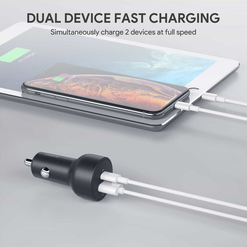 CC-Y6 36W USB C Power Delivery And USB QC3.0 Car Charger