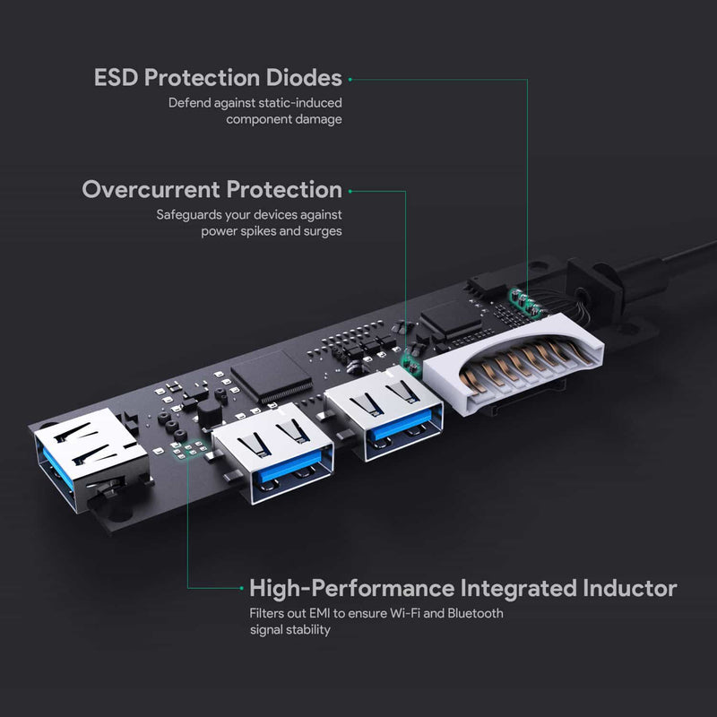 CB-C63 USB-C to 3-Port USB 3.0 Gen 1 Aluminum Hub with Card Reader