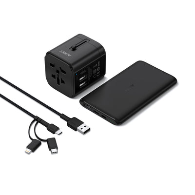 TA-1 3 In 1 Travel Kit Pack With USB C Power Bank, Travel Charger, 3 In 1 Cable