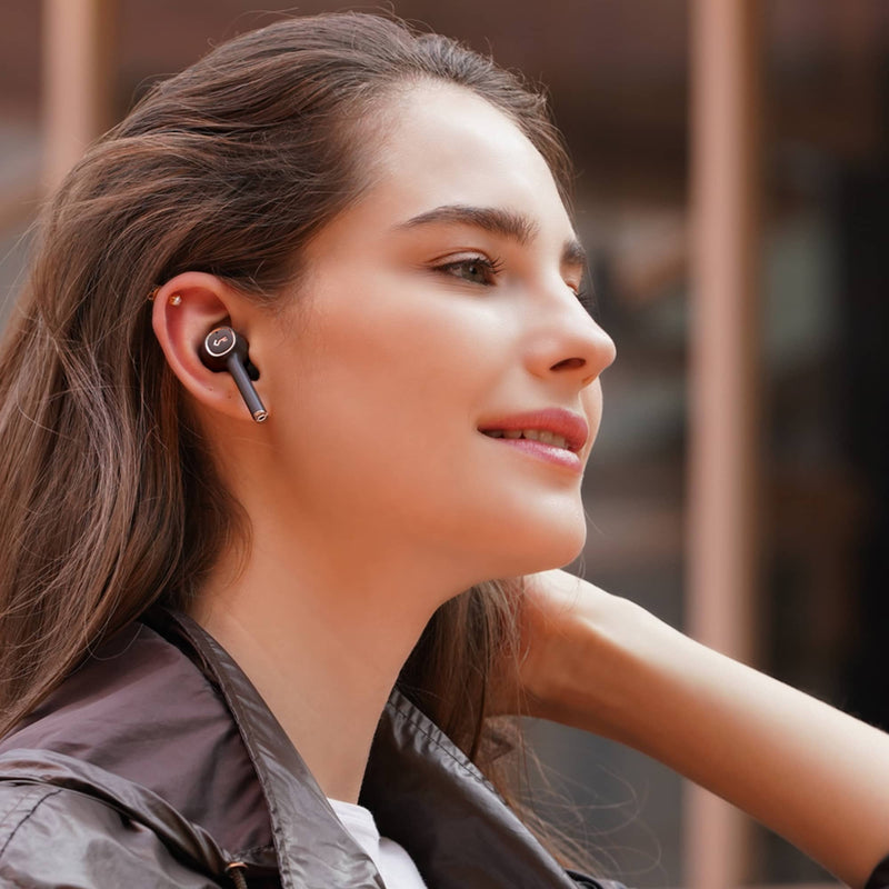 EP-T18NC Key Series Active Noise-Canceling BT 5.0 IPX5 True Wireless Earbuds with Touch Control & Qi Wireless Charging
