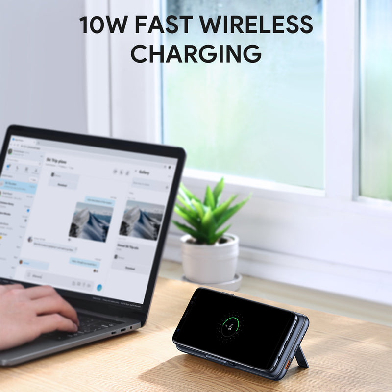 PB-WL02 18W PD QC 3.0 10000mAh Power Bank With Foldable Stand & Wireless Charging
