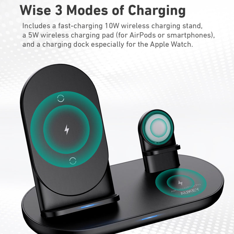 LC-A3 3 in 1 AirCore Wireless Charging Station Stand Charging Dock