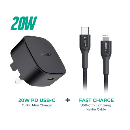 PA-Y25 20W PD Mini Charger with CB-AKL3 USB C to Lightning cable.