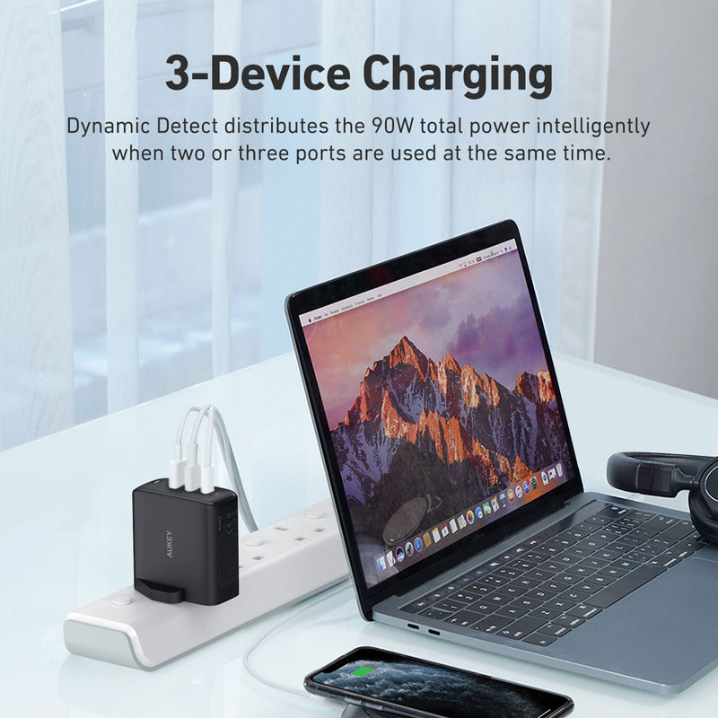 PA-B6S Omnia 90W 3-Port MacBook Pro Charger with GaN Fast Technology, PD Charger USB C Fast Charger USB C Laptop Charger