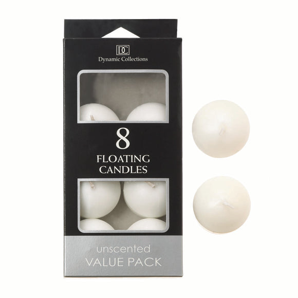 8pk Floating Candles Unscented