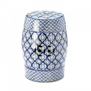 Blue And White Ceramic Decorative Stool