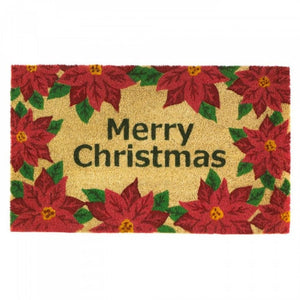 Christmas Poinsettia Welcome Mat