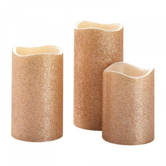 Rose Gold Glitter Led Candle Set Of 3