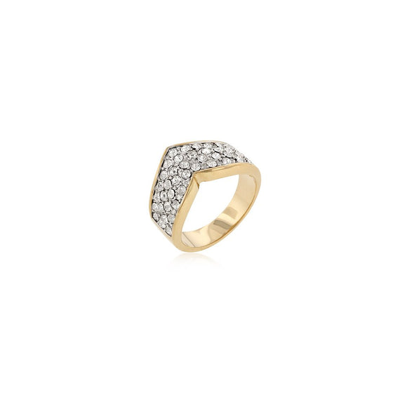 Chevron Pave Crystal Ring