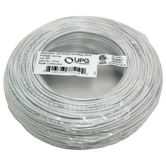 Upg 18-gauge 2-conductor Striped Control White Cable 500ft Coil Pack