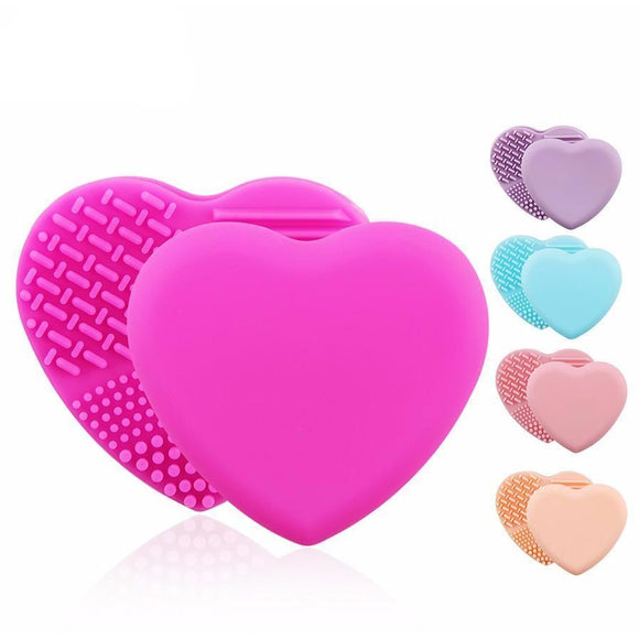 Heart Shaped Silicon Brush Cleaner , Make up Brush Cleaning