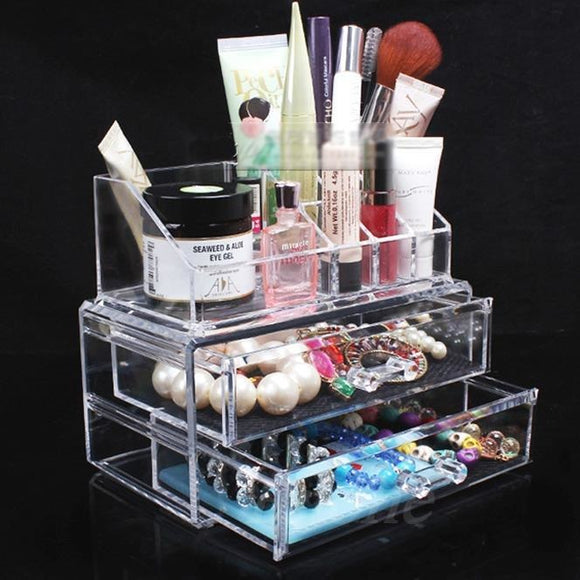 Clear Acrylic Makeup Organizer with Drawers ,