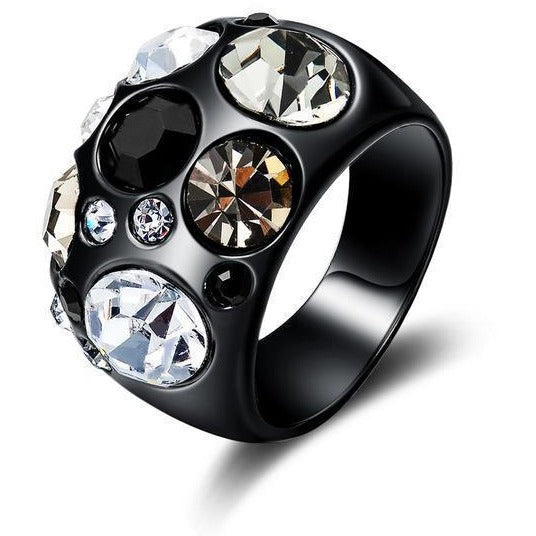 Black Gun Rhinestone Ring