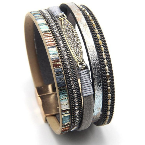 Leather Wrap Bracelet, Boho Chic Jewelry , bracelet