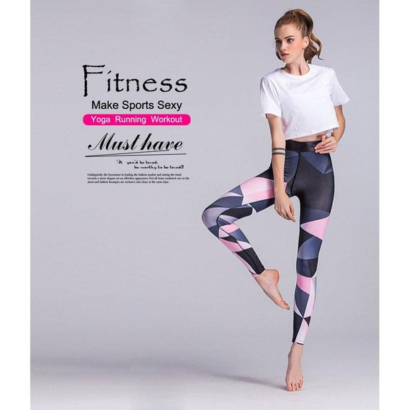 Pink and Blue Triangle Printed Yoga Pants ,
