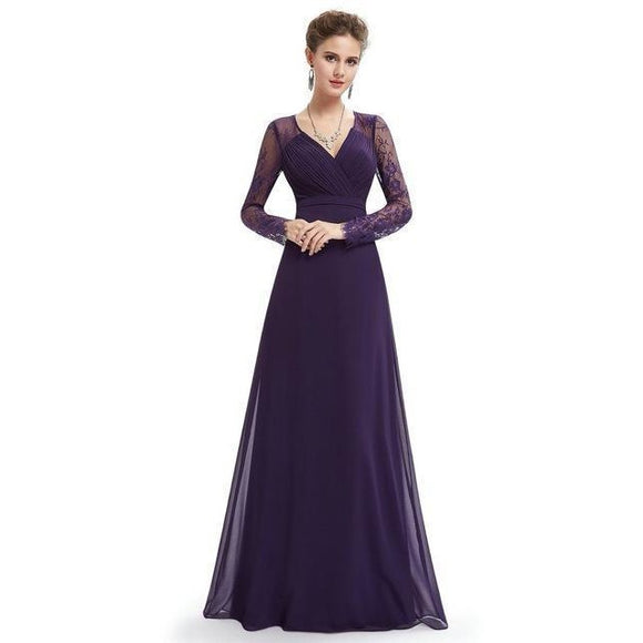 Formal Evening Maxi Dress with Long Sleeves , Women Dress