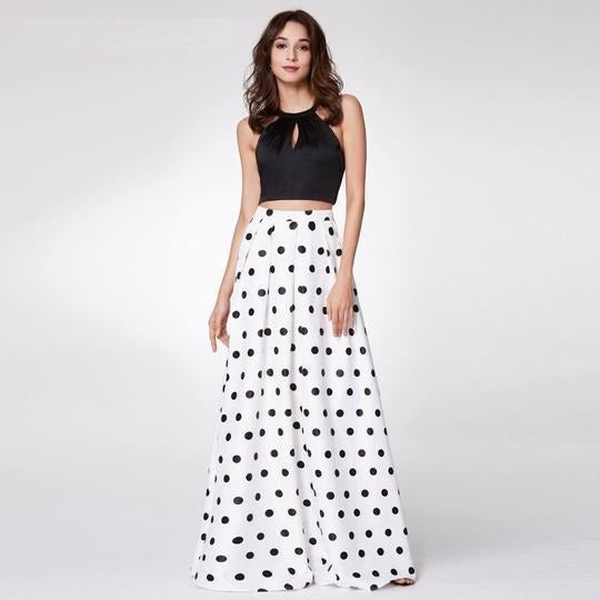Black and White Polka Dot Skirt , Women Dress