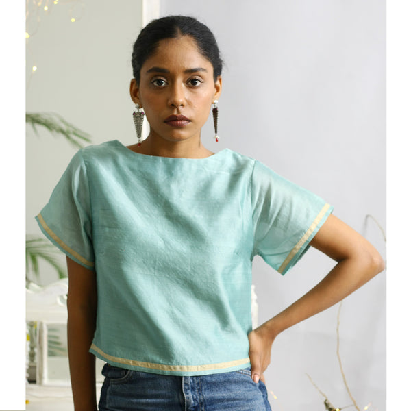 Juniper Ecoloom Cotton Silk Crop Top in Jade Green