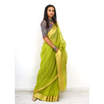 Citrus Silk Cotton Ecoloom Jamdani Saree