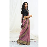 Ecoloom Iris Silk Cotton Saree In Lilac
