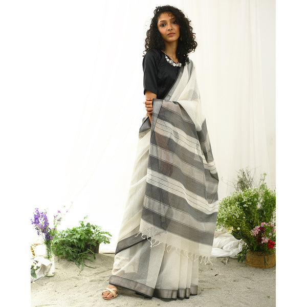 Erget Ecoloom Silk Cotton Self Check Saree
