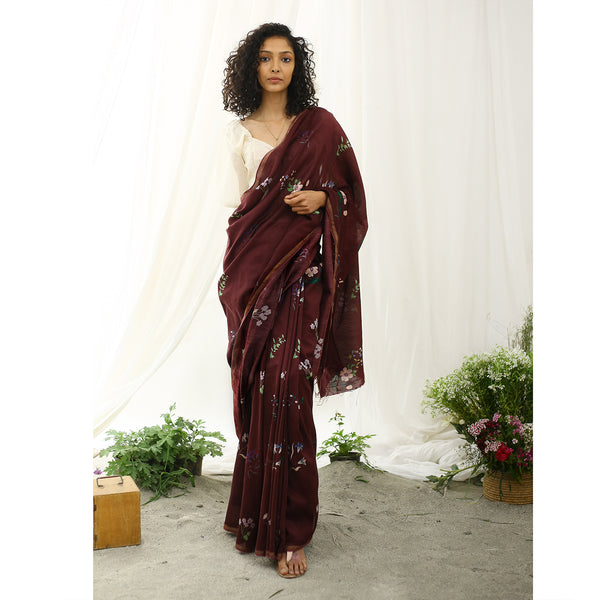 Flamingo Ecoloom Floral Printed Saree