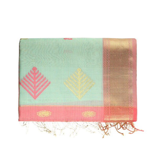 Kalee Ecoloom Maheshwari Saree in Mint