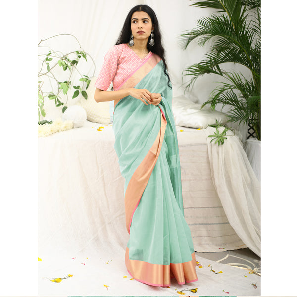 Shevanti Mint Green Ecoloom Cotton Silk Saree