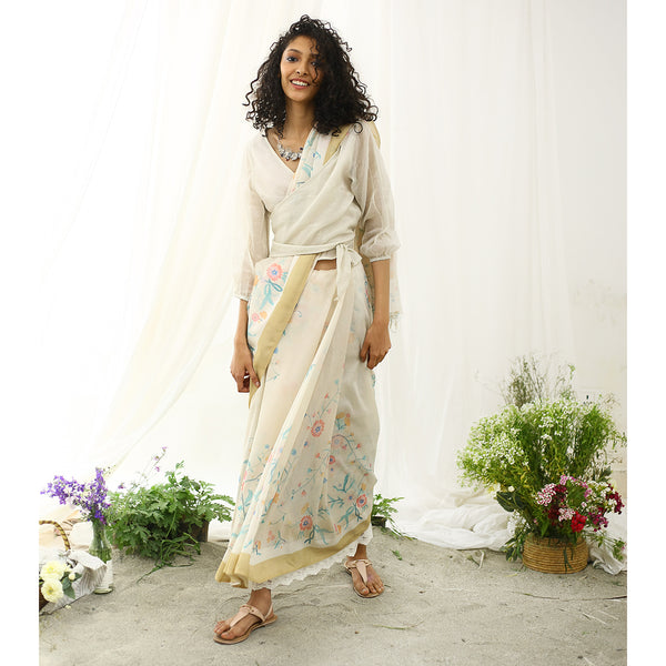 Champa Ecoloom Floral Printed Saree