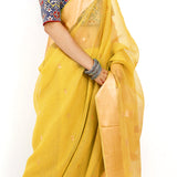 Kadzi Silk Cotton Ecoloom Jamdani Saree