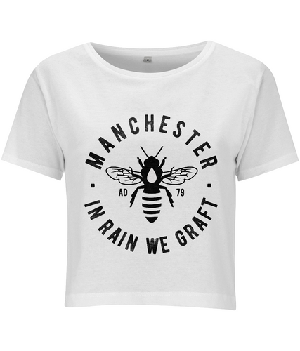 Women's Cropped T-Shirt Gym Wear - Manchester Bee