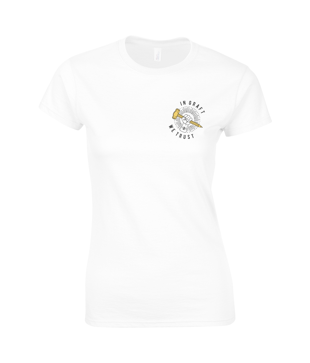 women's cotton t-shirt - small angled graft logo