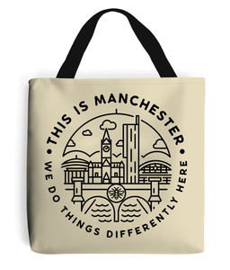 'this is manchester' premium tote bag