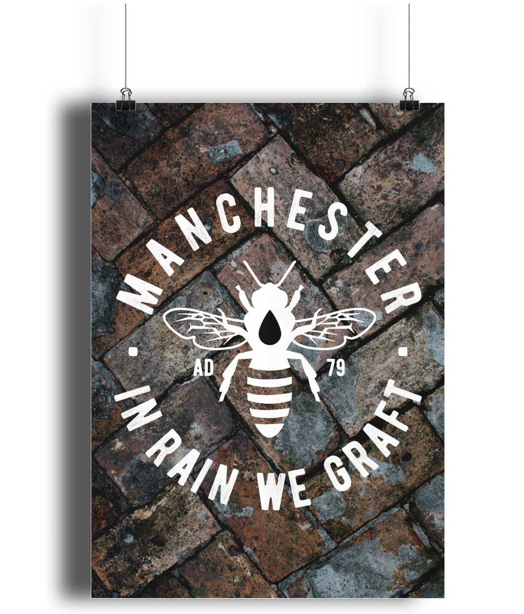 Manchester Bee Bricks - Portrait Print