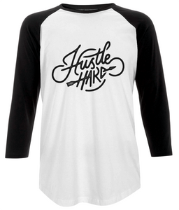 "women's baseball t-shirt - ""hustle hard"" design"