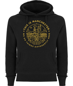 "men's ""this is manchester"" pullover fairtrade hoodie"