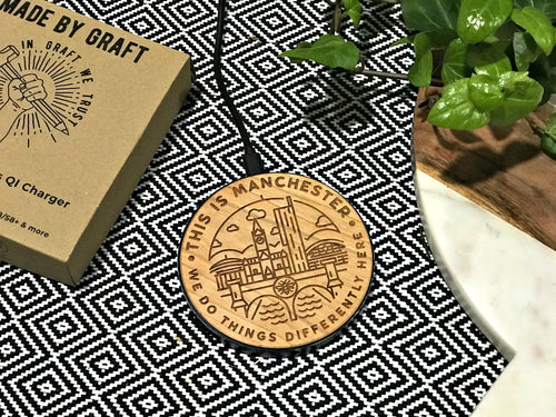 'this is manchester' qi wireless fast charge charging pad
