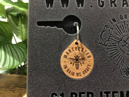 mcr bee wooden keyrings