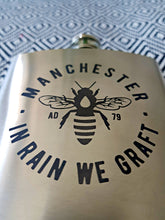 manchester bee silver 6oz hip flask