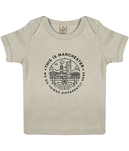 100% organic 'this is manchester' baby lap t-shirt