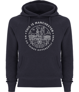 "women's ""this is manchester"" pullover fairtrade hoodie"