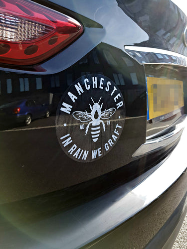 manchester bee white car bumber stickers