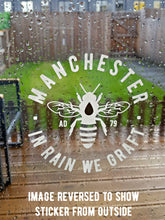 manchester bee white window stickers