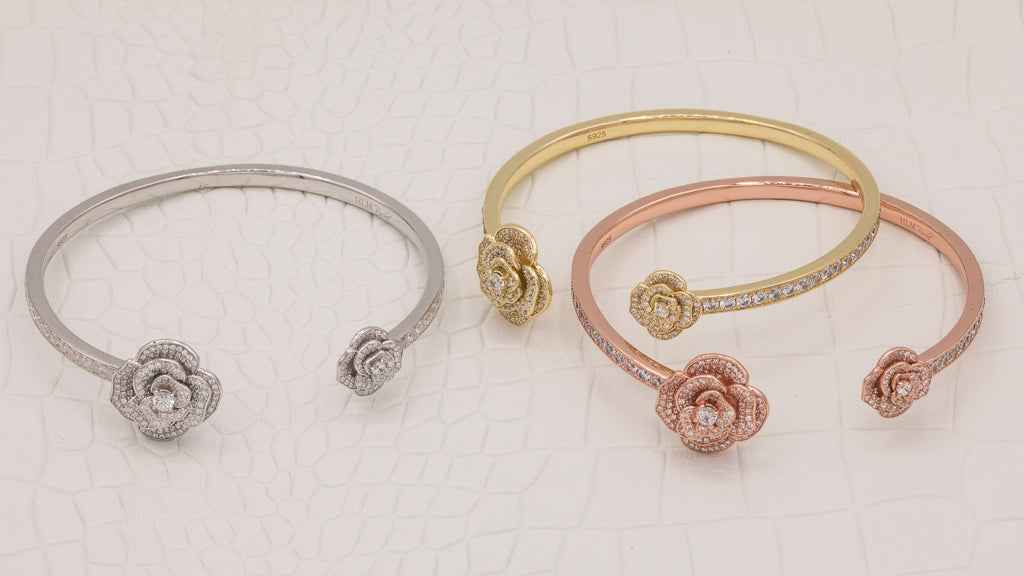asymmetric accent rose bangle {floral collection}